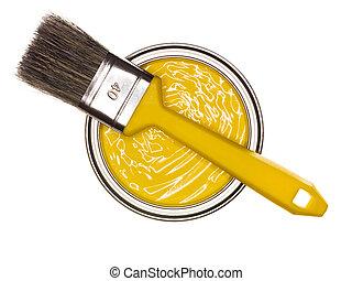 Pintura amarilla con pincel
