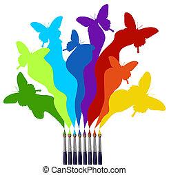 pintura, arco irirs, mariposas, coloreado, cepillos