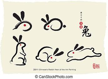 pintura, chinese's, conejo, tinta
