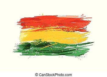 pintura, colorido, grunge, bandera, texture., bolivia, smears, hecho, splashes.
