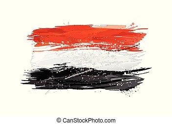 pintura, colorido, grunge, bandera, texture., smears, hecho, egipto, splashes.