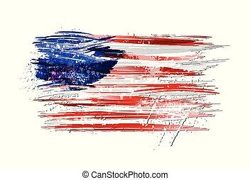 pintura, colorido, grunge, bandera, texture., smears, hecho, estados unidos de américa, splashes.