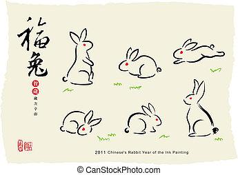 pintura, conejo, tinta