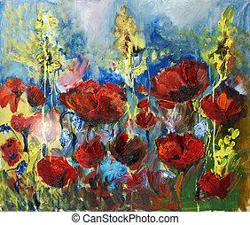 Pintura de aceite de amapola roja