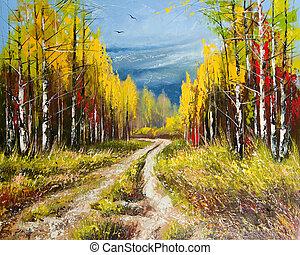 Pintura de aceite, otoño dorado