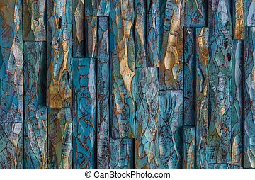 Pintura de madera dorada y azul
