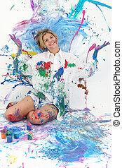 Pintura de mujer adolescente