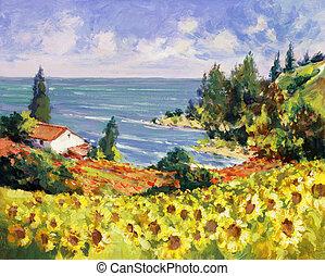 Pintura de paisaje marino