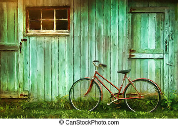 Pintura digital de bicicleta vieja contra granero