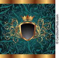 Pintura dorada de ilustración con elementos heráldicos (crown, escudo), textura floral sin costura - vector