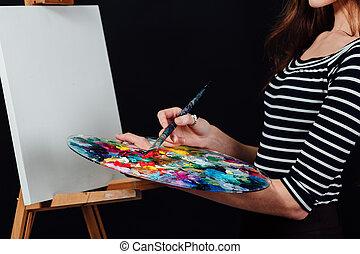 pintura, fondo., niña, text., lindo, negro, imagen, lona, easel., estudio, hermoso, artista, espacio