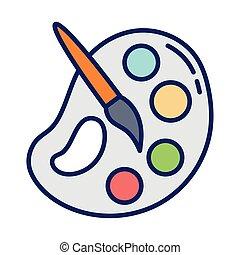 pintura, línea, paleta, brocha, relleno, icono, estilo