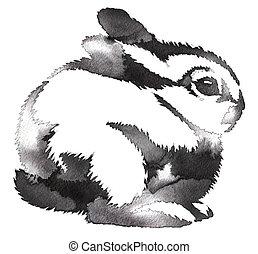 pintura, monocromo, conejo, empate, negro, aguas rápidas, tinta, ilustración