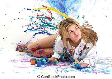 pintura, mujer, adolescente