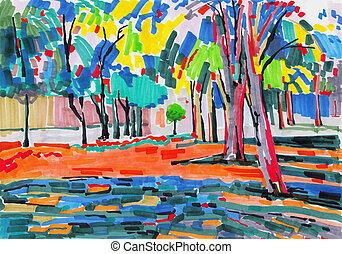 Pintura original inusual del paisaje del árbol