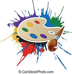 Pintura, paleta y cepillo
