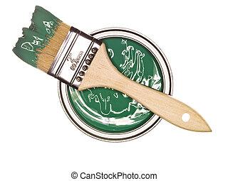Pintura verde con cepillo