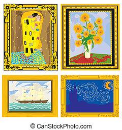 Pinturas de aceite con marcos elegantes