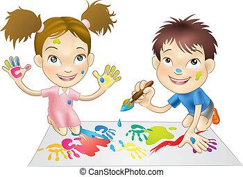 pinturas, juego, niños, joven, dos
