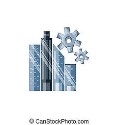 Pinzas de engranajes con paisaje urbano