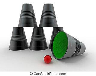 Pirámide de vasos de plástico invertidos en un fondo aislado