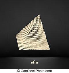 Pirámide. Estructura de conexión. Vector 3D ilustración.