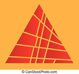 Pirámide roja cortada