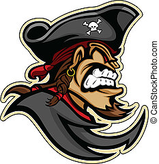 Pirata, asaltador, o cabeza de bucanero con sombrero y barba de cabra imagen de vector gráfico de mascota