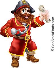 Pirata de dibujos animados con mapa del tesoro
