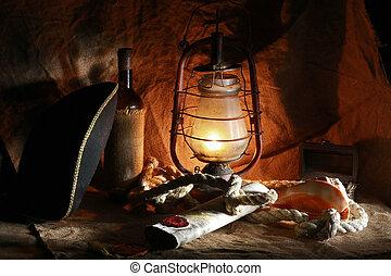 Pirata de la vida tranquila de vino, sombreros, cuerdas, fregaderos, fijaciones, mapas