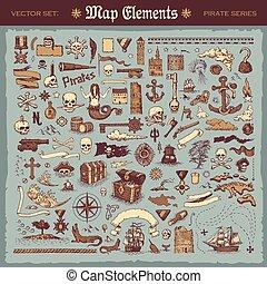 pirata, elementos, artículos, mapa