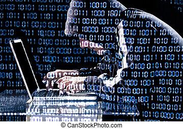 pirata informático, computador portatil, mecanografía