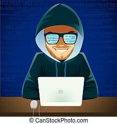 pirata informático, criminal, cyber, computador portatil
