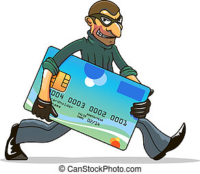 pirata informático, ladrón, credito, robar, o, tarjeta