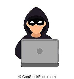 pirata informático, silueta, color, computador portatil