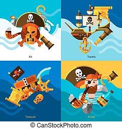 Piratas 2x2 concepto de diseño establecido