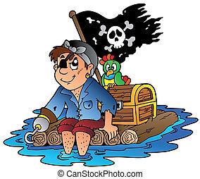 Piratas de cartón navegando en balsa