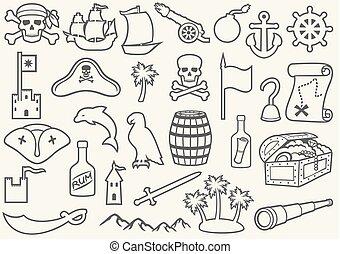 Piratas iconos de delgada línea establecidos (abre, cráneo con pañuelos y huesos, gancho, sombrero de triángulo, viejo barco, catalejo, cofre del tesoro, ancla, timón, montaña, mapa, barril, ron, isla con palmas)