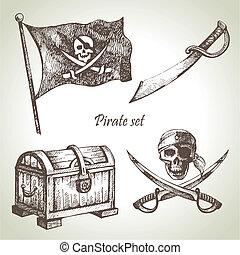 Piratas listas. Manos dibujadas ilustraciones