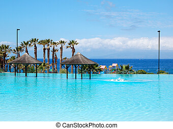 piscina con jacuzzi y playa de hotel lujo, Tenerife Island, España
