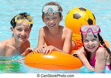 piscina, niños, natación