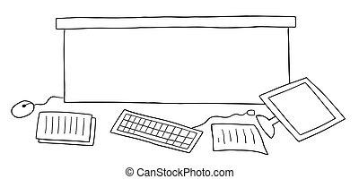 piso, caricatura, vector, desordenado, papeles, ilustración, escritorio de oficina, computadora