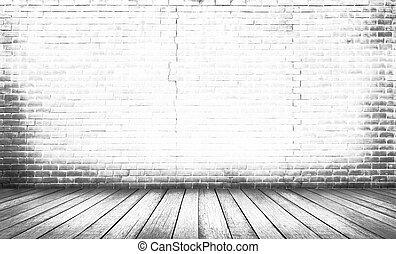 Piso de madera blanca con fondo de pared de ladrillo