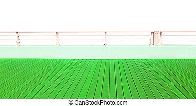 Piso de madera verde con tablones de madera aislados en fondo blanco
