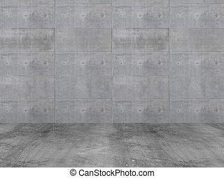 piso, pared, concreto