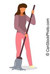 piso, rutina, actividad, trapeador, gente, mujer, joven, diario, ilustración, ama de casa, limpieza