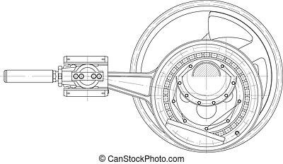 pistón, bomba, unidad, mecanismo