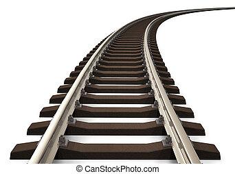 pista, curvo, ferrocarril