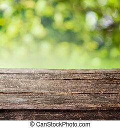 Pista de vallas de madera rústica o mesa superior