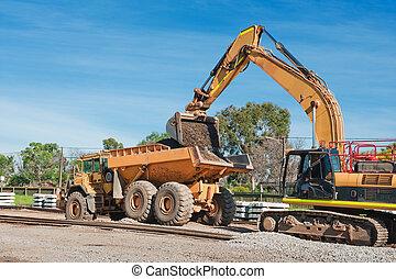 pista, preparación, ferrocarril, modernización